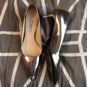 Silver Prada kitten heels